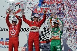 Victory lane: Ryan Briscoe, Scott Dixon, and Tony Kanaan
