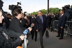 FIA deleguates enter the FIA Place de la Concorde headquarters: Michel Boeri