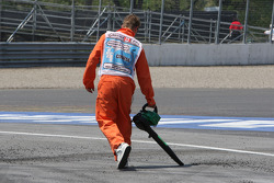 The tarmac at turn 10 breaking up