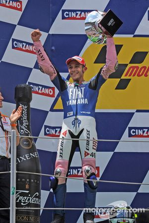 Podium: Valentino Rossi celebrates second place finish