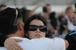 Danica Patrick hugs her father