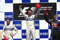 Podium: Sieger Robert Kubica mit Nick Heidfeld und David Coulthard