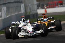 Nick Heidfeld, BMW Sauber F1 Team, F1.08 y Fernando Alonso, Renault F1 Team, R28