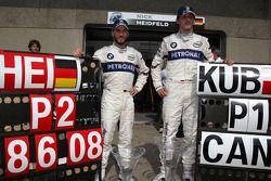 BMW Sauber F1 team celebrations: race winner Robert Kubica celebrates with Nick Heidfeld