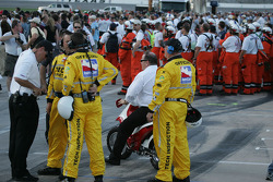 Chip Ganassi comes out to witness the jump by Robbie Knievel