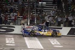 Ron Hornaday receives the checkered flag