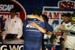 Victory lane: race winner Ron Hornaday celebrates