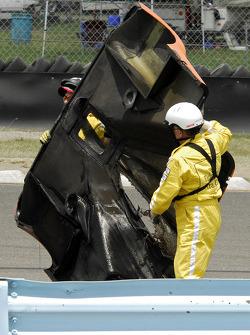 Burnt enginge cover of the #47 Doran Racing Ford Dallara: Richard Antinucci, Burt Frisselle, Gabriel
