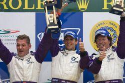 LM P2 podium: klassewinnaars Jos Verstappen, Peter Van Merksteijn, Jeroen Bleekemolen