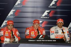 Пресс-конференция: Кими Райкконен, Scuderia Ferrari (обладатель поул-позиции), Фелипе Масса, Scuderi