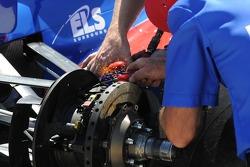 Hideki Mutoh's brakes being worked on