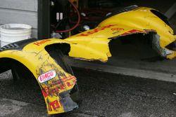 Damaged front end of the #77 Kodak Racing Ford Dallara