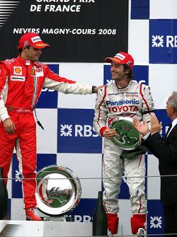 Podio: ganador de la carrera Felipe Massa con Jarno Trulli