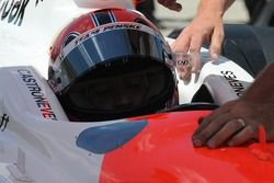 Helio Castroneves getting ready for practice