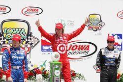 Victory lane: race winner Dan Wheldon, second place Hideki Mutoh, third place Marco Andretti