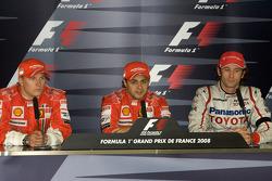 Conferencia de prensa: ganador Felipe Massa, Kimi Raikkonen y Jarno Trulli