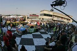 Victory lane: winner Kyle Busch celebrates