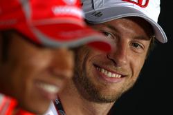 FIA press conference: Lewis Hamilton, McLaren Mercedes, Jenson Button, Honda Racing F1 Team