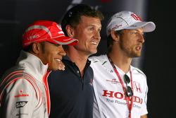 FIA press conference: Lewis Hamilton, McLaren Mercedes, David Coulthard, Red Bull Racing, Jenson Button, Honda Racing F1 Team
