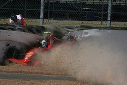 Felipe Massa, Scuderia Ferrari crashes into the tyre wall at Stowe corner