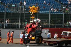 Felipe Massa, Scuderia Ferrari after crashing into the tyre wall at Stowe corner