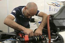 A Barwa International Campos Team mechanic at work