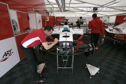 ART Grand Prix mechanics work on Luca Filippi car