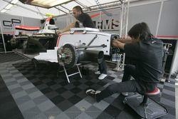 Fisichella Motor Sport International mechanics prepare Marko Asmer car