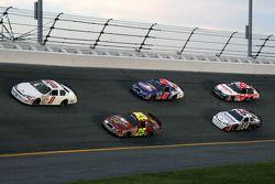 Brad Teague and Bobby Hamilton Jr. lead a group of cars