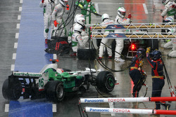 Rubens Barrichello, Honda Racing F1 Team, Jenson Button, Honda Racing F1 Team tijdens pitstop