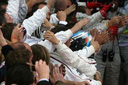 Second place Nick Heidfeld celebrates