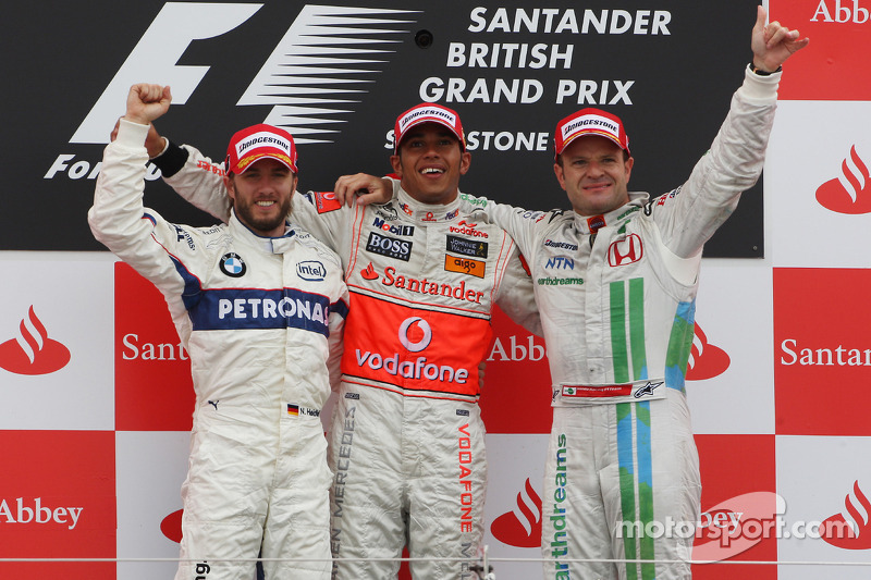 2008 - 1. Lewis Hamilton, 2. Nick Heidfeld, 3. Rubens Barrichello