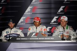 Press conference: race winner Lewis Hamilton with second place Nick Heidfeld and third place Rubens