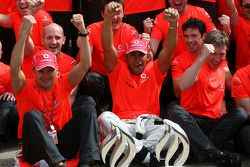 McLaren Mercedes victory celebration: race winner Lewis Hamilton celebrates with Heikki Kovalainen, Ron Dennis and McLaren team members