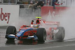 Bruno Senna crosses the line to take victory