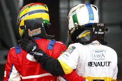 Bruno Senna celebrates his victory with Lucas di Grassi