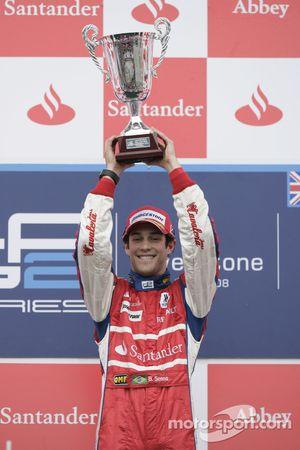 Bruno Senna celebrates his victory on the podium