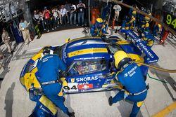Pit stop for #94 Speedy Racing Team Spyker C8 Laviolette: Benjamin Leuenberger, Andrea Chiesa, Alexa