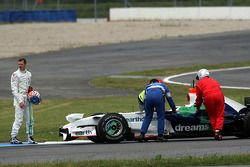 Alexander Wurz, Test Driver, Honda Racing F1 Team stopped on track with some technical problems