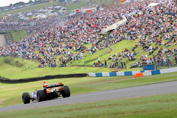 Jonathan Cochet demonstrates Renault R26 for crowd, Donington