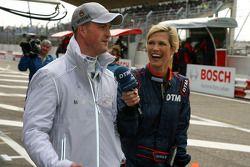 Ralf Schumacher, Mücke Motorsport AMG Mercedes, being interviewed for international DTM TV