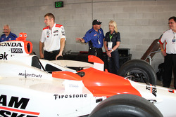 Mrs. McCain gets a tour of the Team Penske garage