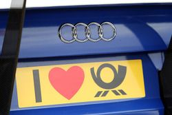 The car of Katherine Legge, TME, Audi A4 DTM with a customized Deutsche Post sign
