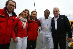 Pop singer Hadday on the grid with Jurgen Pippig, Press Officer Audi Motorsport and Audi guests