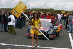 Car of Mattias Ekström, Audi Sport Team Abt Sportsline, Audi A4 DTM, being pushed onto the grid