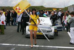 Car of Bruno Spengler, Team HWA AMG Mercedes, AMG Mercedes C-Klasse, being pushed onto the grid