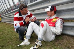 Tom Kristensen, Audi Sport Team Abt, Audi A4 DTM talking to Dutch TV host and racecardriver Allard Kalff