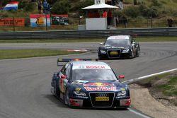 Mattias Ekström, Audi Sport Team Abt Sportsline, Audi A4 DTM leads Timo Scheider, Audi Sport Team A