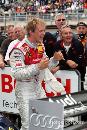 Race winner Mattias Ekström celebrates