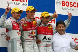 Podium: race winner Mattias Ekström, second place Timo Scheider, third place Tom Kristensen